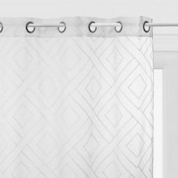 Voilage blanc motif en relief Etnik 140 x 240 cm