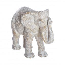 Éléphant Blanc en résine H 15 cm