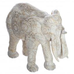 Éléphant Blanc en résine H 22 cm