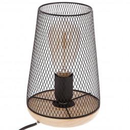 Lampe métal bois noire H23