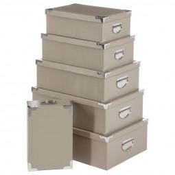 Lot de 6 boîtes coins métal effet croco