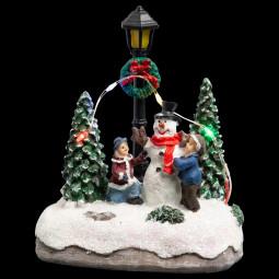 Village de Noël lumineux Scène de avec avec Personnages et sapins Collection Village au village