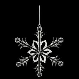 Décoration de sapin Sujet de Noël en verre floqué D 19 cm collection Lodge