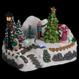 Village de Noël lumineux et animé Scène de vie autour du sapin de Noël Collection Village en ville