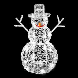 Décoration lumineuse extérieur Bonhomme de neige 3D 100 LED Blanc fixe H 60 cm