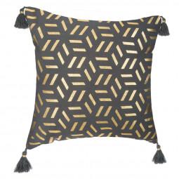 Housse de coussin grise à géométries gold 40 x 40 cm