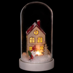 Décoration de Noël lumineuse sous cloche H 16 cm Noël et compagnie