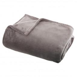 Plaid flanel uni gris 125x150