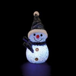 Sujet de Noël lumineux Bonhomme de neige LED à variation de couleur H 10 cm