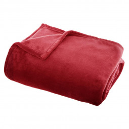 Plaid flanelle uni rouge 125X150