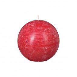 Bougie rustique boule rouge D12