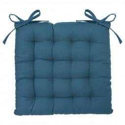 Galette de chaise bleu canard 38x38 cm