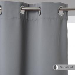 Rideau occultant uni gris 140x260