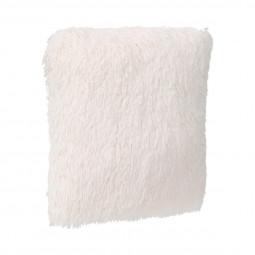 Coussin déhoussable fourrure poils longs écru 45 x 45 cm
