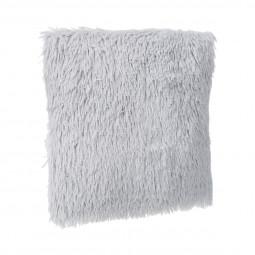 Coussin déhoussable fourrure poils longs gris clair 45 x 45 cm