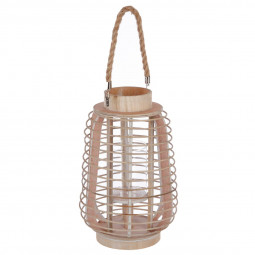 Lanterne en rotin & verre H33