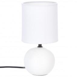 Lampe en céramique Pied Boule Blanc mat H 25 cm