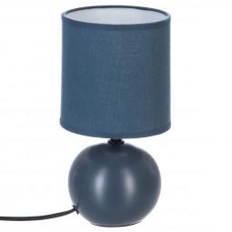 Lampe en céramique Pied Boule Bleu mat H 25 cm