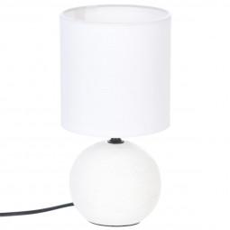 Lampe en céramique Pied Boule striée Blanc H 25 cm
