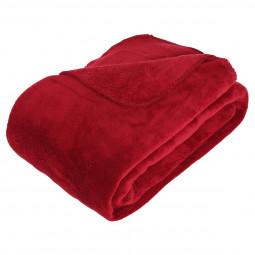 Plaid microfibre rouge 180x230
