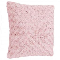 Coussin déhoussable fourrure bouclée rose 45x45