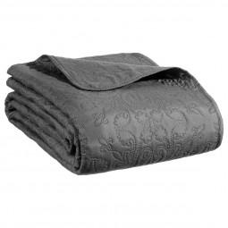 Dessus de lit arabesque gris foncé 240x260 + 2 housses d'oreiller 60x60
