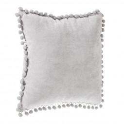 Coussin à pompons gris clair 40 x 40 cm