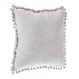 Coussin à pompons gris clair 40x40