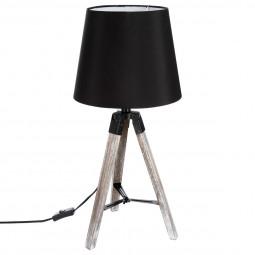 Lampe Trépied en Bois et abat-jour Noir Runo H 58 cm