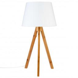 Lampe Pied en Bambou Abat-jour Blanc Bahi H 55 cm
