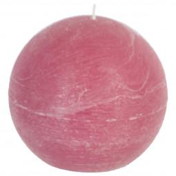 Bougie rustique boule rose D12