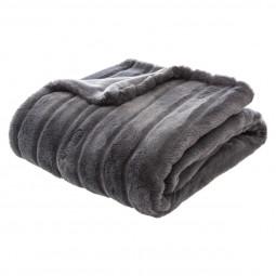 Plaid fourrure gris foncé 120X160