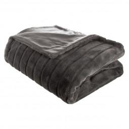 Plaid fourrure gris foncé 180X230