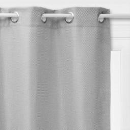 Rideau occultant à oeillets tressé gris clair 140 x 260 cm