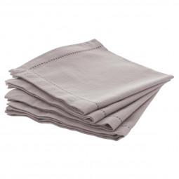 Lot de 4 serviettes de table chambray gris clair