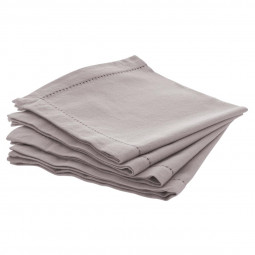 Lot de 4 serviettes de table chambray grises claires