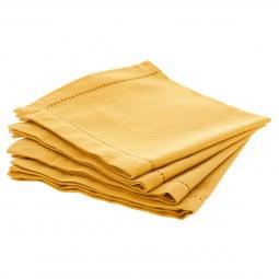 Lot de 4 serviettes de table chambray ocre