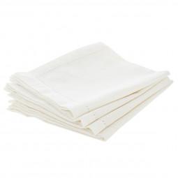 Lot de 4 serviettes de table chambray blanc