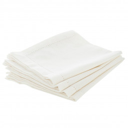 Lot de 4 serviettes de table chambray blanches