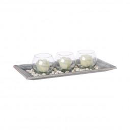 Centre de table de 3 photophores boules et 3 bougies sur plateau