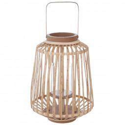 Lanterne couleur naturelle en rotin H35