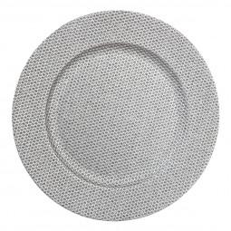 Assiette de présentation ronde Argent avec strass D 33 cm La maison des couleurs