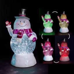 Sujet de Noël lumineux Bonhomme de Neige Boule à paillettes LED à variation de couleur H 20 cm