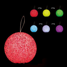 Sujet de Noël lumineux Boule LED à variation de couleur H 7.5 cm