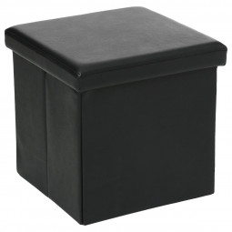 Pouf pliant carré PVC noir 38x38