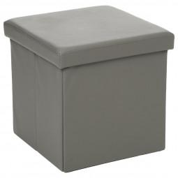 Pouf pliant carré PVC gris 38x38