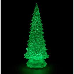 Sujet de Noël lumineux Sapin pailleté LED à variation de couleur H 21 cm