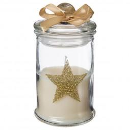 Bougie dans Photophore en verre décoré étoile or avec couvercle H 11 cm Noël et compagnie