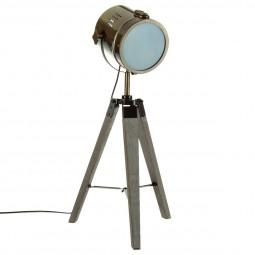 Lampe en métal bronze et bois