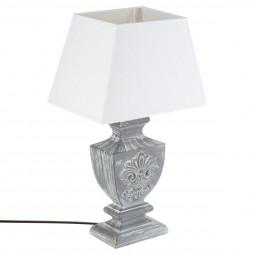 Lampe en bois patiné gris H50